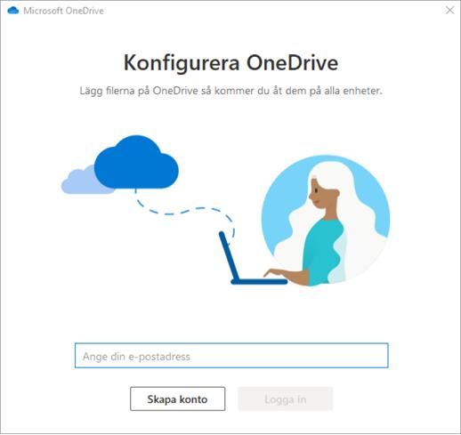 Skärmbild av den första skärmen i installationsprogrammet för OneDrive