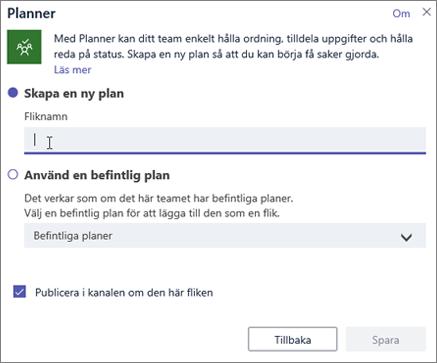 Skärmbild av dialogrutan för fliken Planner i Teams
