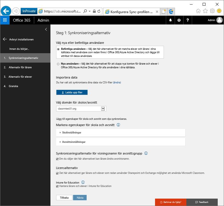 Skärmbild av sidan Synkroniseringsalternativ