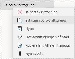 Byta namn på avsnittsgrupper i OneNote för Windows 10-appen
