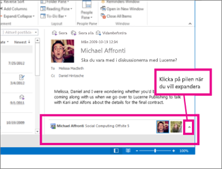Outlook Social Connector är minimerat som standard