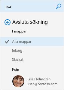 En skärmbild av sökresultatets navigeringspanel.