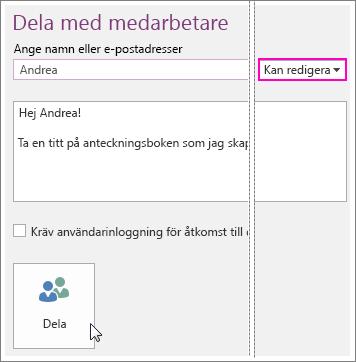 Skärmbild av gränssnittet Dela i OneNote 2016.