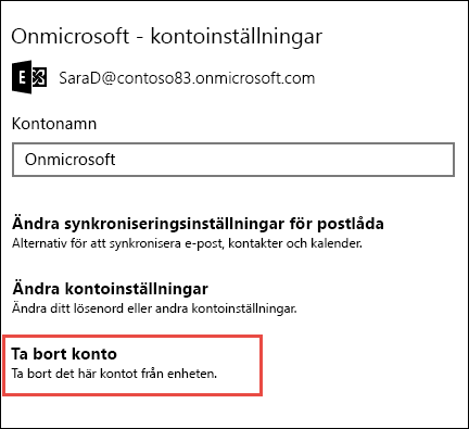 Ta bort konton i e-postprogrammet
