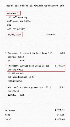 Ditt kvitto (eller inköpsbevis) ska innehålla namnet på butiken där enheten köptes, inköpsdatumet och enheten.