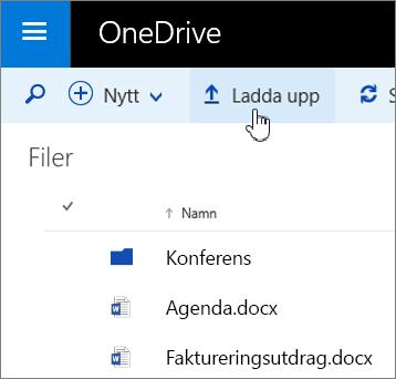 Skärmbild av knappen Ladda upp i OneDrive för företag i Office 365