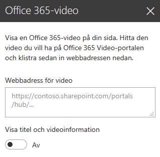Skärmbild av Office 365-videoadress-dialogrutan i SharePoint.