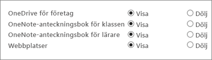 En lista med OneDrive för företag, OneNote-anteckningsbok för klassen, OneNote-anteckningsbok för personal och Webbplatser med knapparna Visa och Dölj.