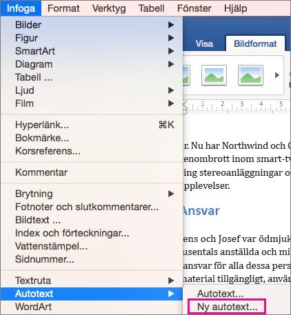 Infoga-menyn med Autotext > Ny markerat.