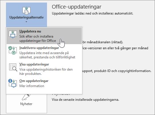 Knappen Hämta Office Insider-uppdateringar nu