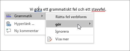 Exempel på stavning och grammatik i Office 365