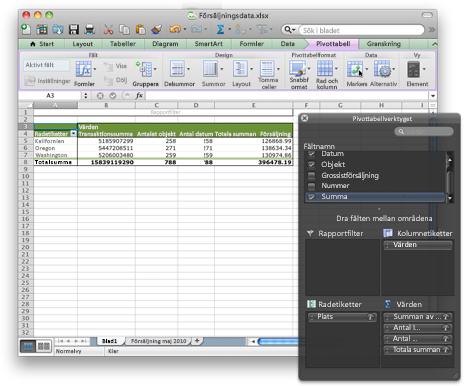 Excel-arbetsbok med det nya pivottabellgränssnittet