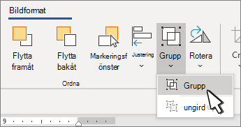 Knappen gruppera under bild format