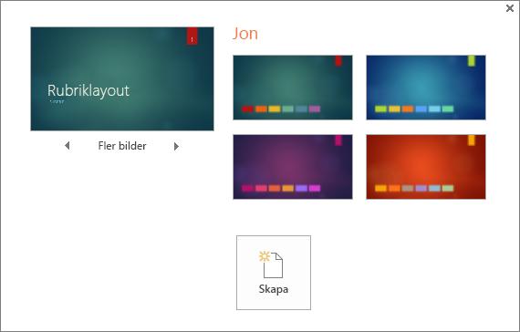 Visar olika alternativ för Temafärger i PowerPoint