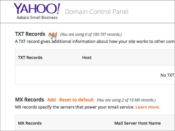 Klicka på Add på sidan Domain Control Panel