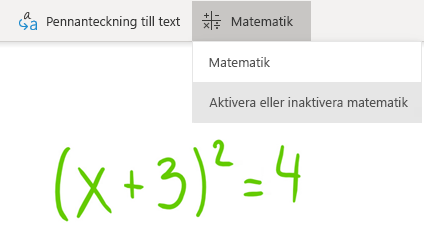 Alternativ för matematikknapp i OneNote för Windows 10