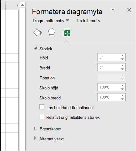 Du kan justera storleken på diagrammet i dialogrutan Formatera diagramyta