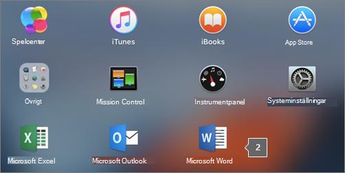 Microsoft Word-ikonen visas i en delvy av startfönstret