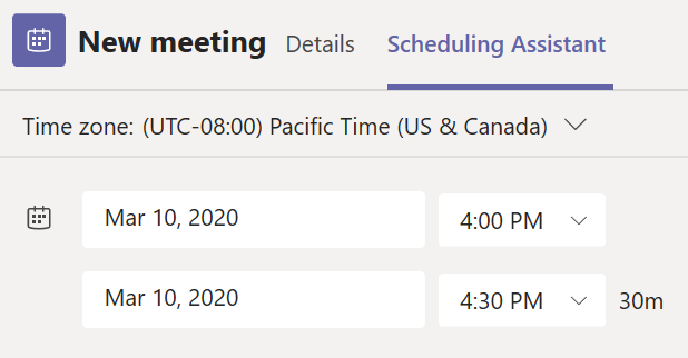 Fliken schemaläggningsassistenten i formuläret Schemalägga nytt möte i Teams.