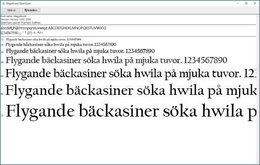 Med Windows förhandsgranskning av teckensnitt kan du visa och installera teckensnitt på din Windows-dator