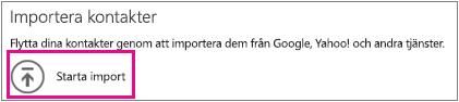 Importera kontaktmeddelande med Starta importera markerat