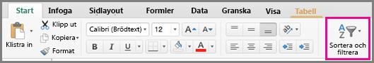 Kommandot Sortera och filtrera i Excel för Mac