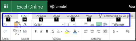 Menyfliksområdet för Excel för webben med fliken Start och tangenttips på alla flikar