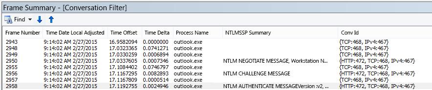 Netmon-spårning visar proxy-autentisering, filtrerat efter konversation.