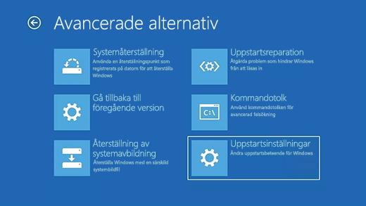 Skärmen Avancerade alternativ i Windows Återställningsmiljö.