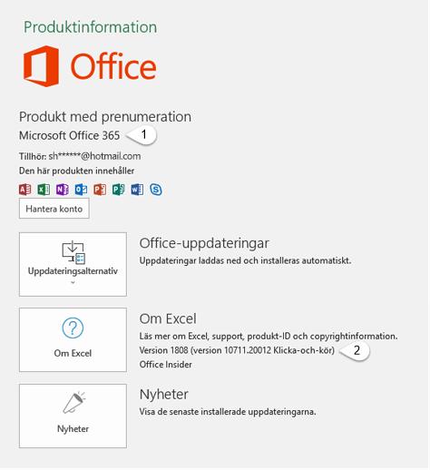 Kontosida som innehåller information om både användare och produkt