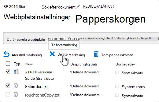 SharePoint 2016, sidan Papperskorg, knappen Ta bort