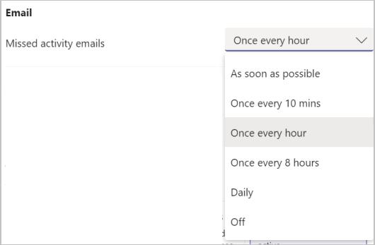 Skärm bild av inställningar för e-postaviseringar om Teams missade