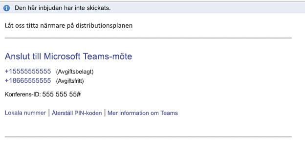 Länken Anslut till Microsoft Teams-möte i händelsens brödtext