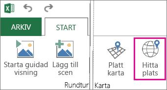 Knappen Sök efter plats på fliken Startsidan för Power Map