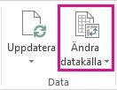 Knappen Ändra datakälla på fliken Analysera i Verktyg för pivottabell