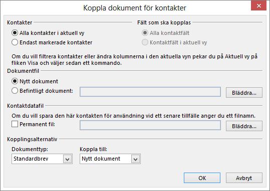 Starta en koppling genom att klicka på Koppla dokument på fliken Start i mappen Kontakter