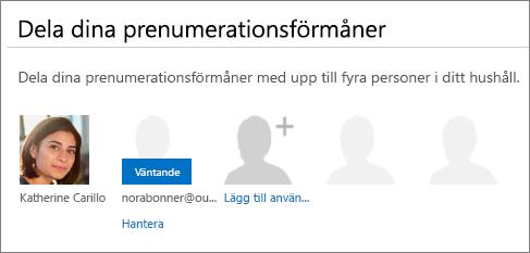 """Skärmbild av avsnittet """"Dela dina prenumerationsförmåner"""" på sidan Dela Office 365 där en delad användare visas som väntande."""