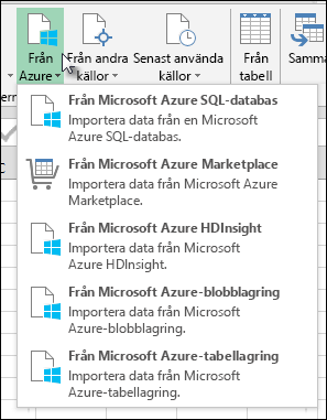 Power Query importera från Azure dialogrutan
