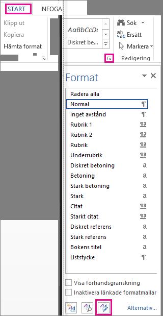 Hantera format i rutan Format