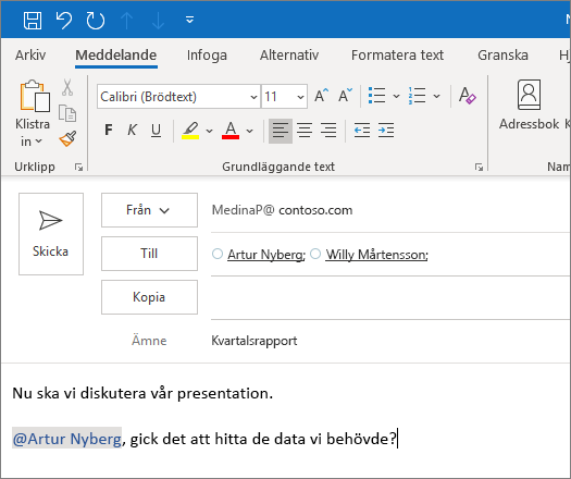 Funktionen @omnämnande i Outlook