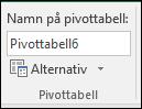 Byta namn på en pivottabell från Verktyg för pivottabell > Analysera > rutan Namn på pivottabell
