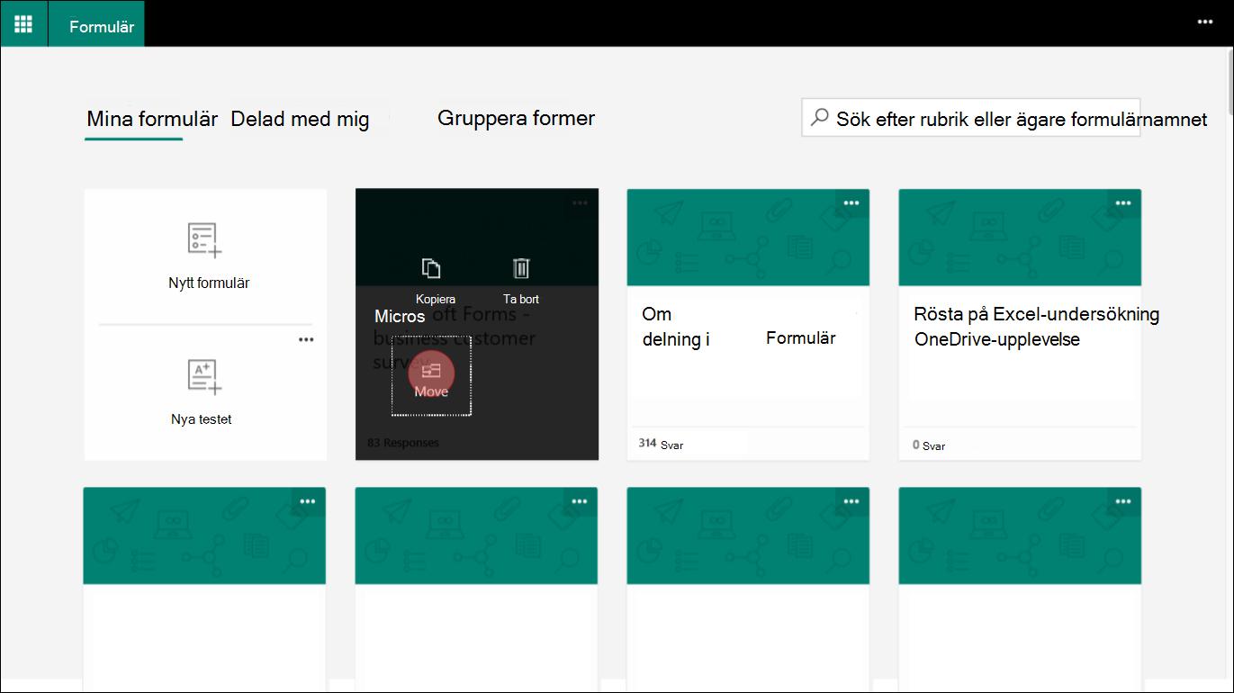 I Microsoft Forms väljer du ett formulär på fliken Mina formulär för att gå till en grupp