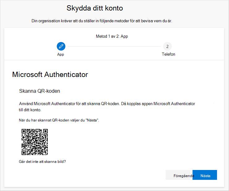 Skanna QR-koden med hjälp Authenticator appen