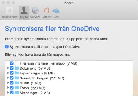 Dialogrutan Synkronisera mappar för OneDrive för Mac