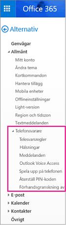 Alternativ för röstmeddelanden i fönstret för e-postalternativ i Outlook