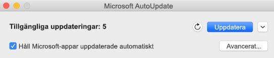 Fönstret Microsoft AutoUpdate när uppdateringar är tillgängliga.