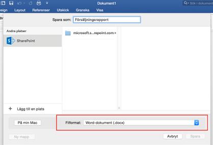 Använd verktyget filformat i Spara som i Word för att spara i andra format, till exempel PDF
