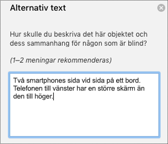 Alternativtext i Outlook för Mac.
