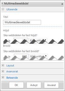 Skärmbild av redigeringspanelen för Multimediewebbdel som visar vissa av de egenskaper du kan konfigurera