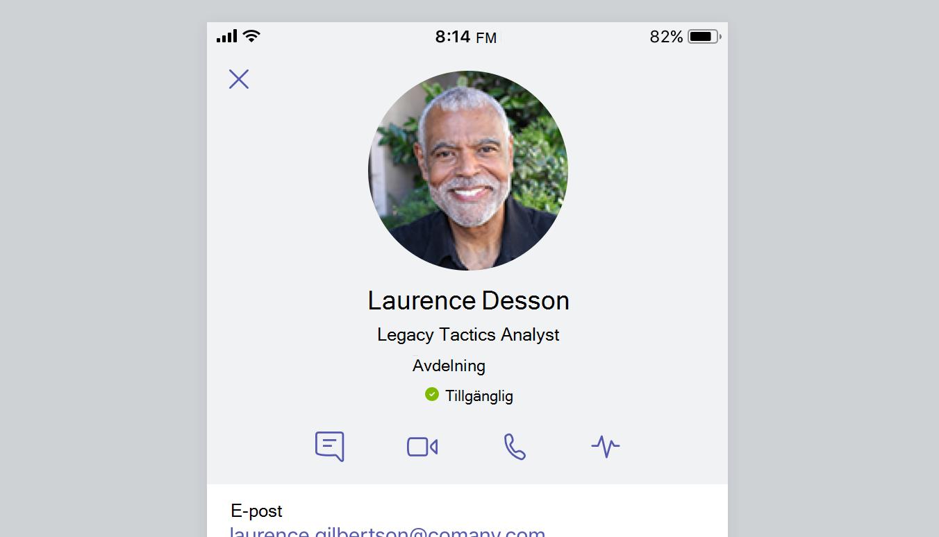 Denna skärmbild visar en persons profilkort.